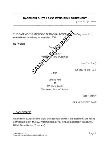 Canadian Lease Extension Agreement