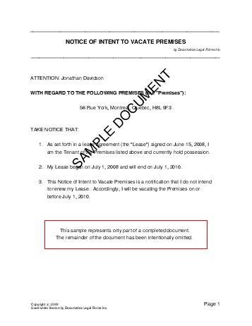 Notice Of Intent To Vacate Premises Canada Legal