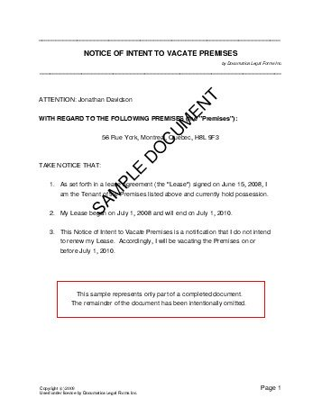 Notice Of Intent To Vacate Premises (Canada) - Legal Templates