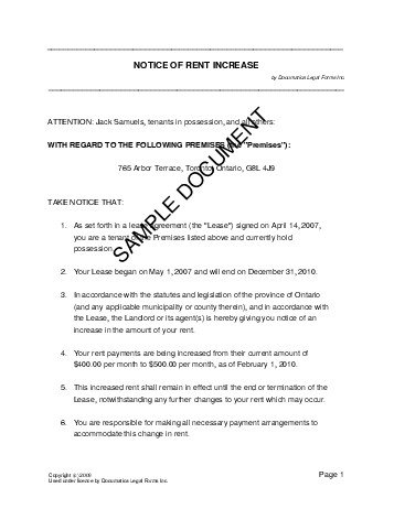 ontario notice of rent increase notice of rent increase canada templates 664