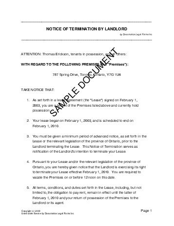 canada notice of termination by landlord - Termination Letter For Tenant From Landlord