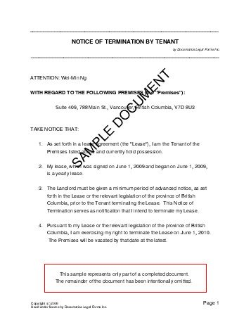 canada notice of termination by tenant - Sample Termination Letter Without Cause