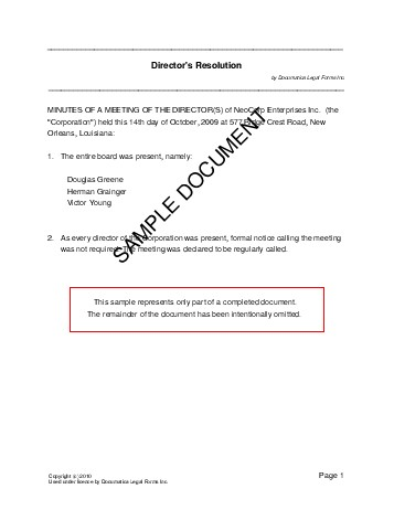 Directors Resolution (Germany) - Legal Templates - Agreements ...