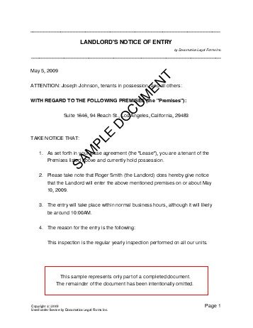 Notice of Entry (Germany) - Legal Templates - Agreements ...