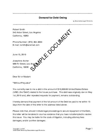 Demand Letter Example. Send This Letter To The Judgment Creditor