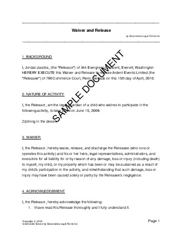 Sample Liability Waiver Form Release Of Liability Form Waiver Of