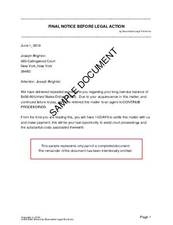 Final Notice Letter Example Of Final Notice Letter Example Of