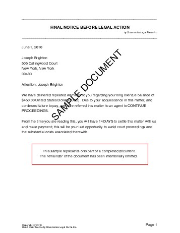 Final Notice Letter. Example Of Final Notice Letter Example Of