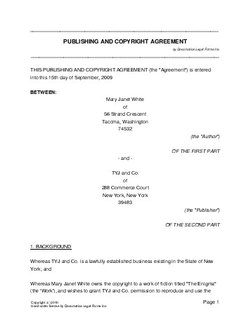 Free Publishing And Copyright Agreement Nigeria  Legal Templates