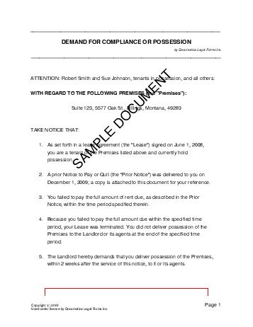 Demand For Compliance Or Possession Pakistan  Legal Templates