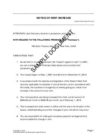 Notice Of Rent Increase (Pakistan) - Legal Templates - Agreements