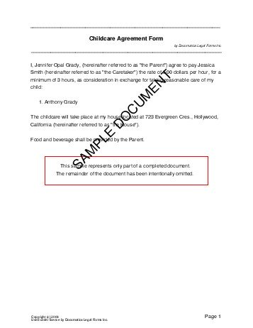 Free Child Care Agreement (Philippines) - Legal Templates