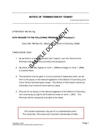 sample notice of termination of contract