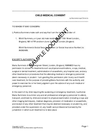 Child Medical Consent United Kingdom  Legal Templates