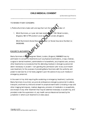Child medical consent united kingdom legal templates for Medication consent form template
