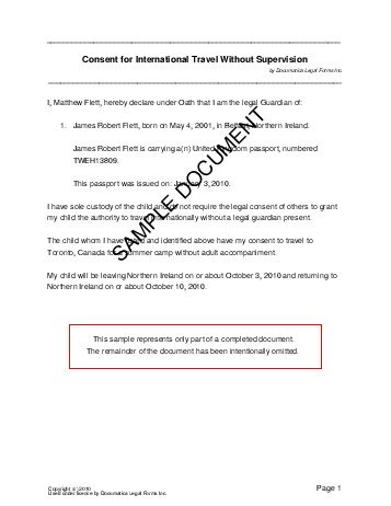 Passport Consent Forms Travel And Medical Authorizationif One Legal