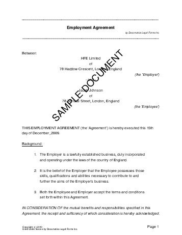 Employment Agreement United Kingdom  Legal Templates