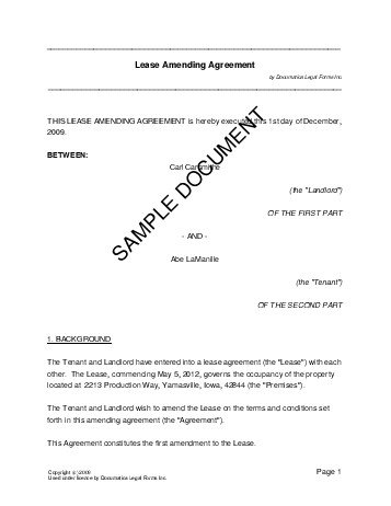 Lease Amending Agreement United Kingdom Legal Templates