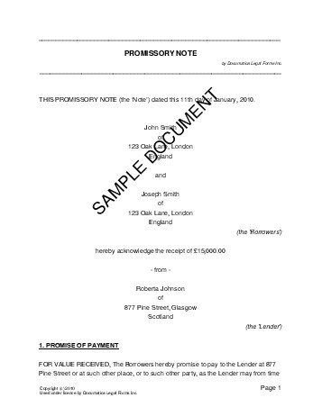 Promissory Note United Kingdom Legal Templates Agreements - Legal loan document template