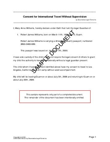 Child Travel Consent (Us Territories) - Legal Templates