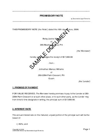 US Territories Promissory Note  Promissory Note Sample Letter