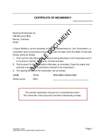 certificate of incumbency usa legal templates agreements