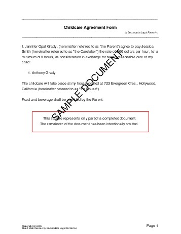Free Child Care Agreement (Usa) - Legal Templates - Contracts