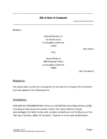 Free Computer Bill of Sale (USA) - Legal Templates - Contracts ...