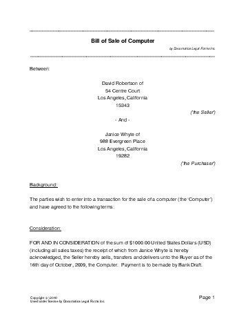 Free Computer Bill Of Sale Usa  Legal Templates  Contracts