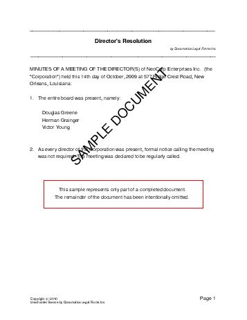 Directors Resolution (Usa) - Legal Templates - Agreements