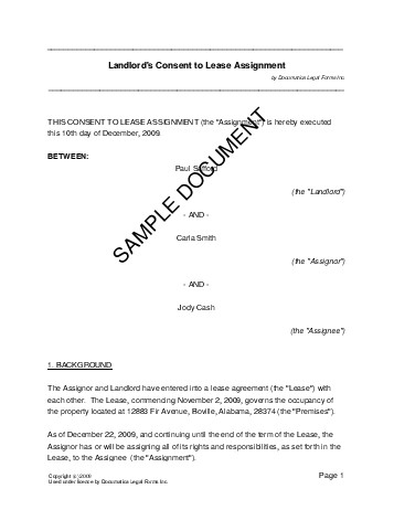 Landlords Consent To Lease Assignment Usa  Legal Templates