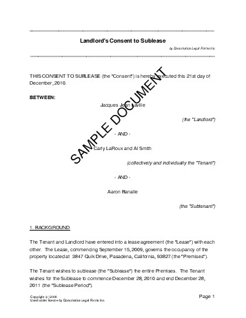 Landlords Consent to Sublease (USA) - Legal Templates - Agreements ...