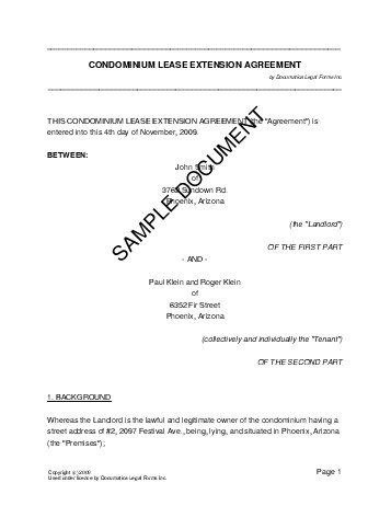 Lease Extension Agreement (Usa) - Legal Templates - Agreements