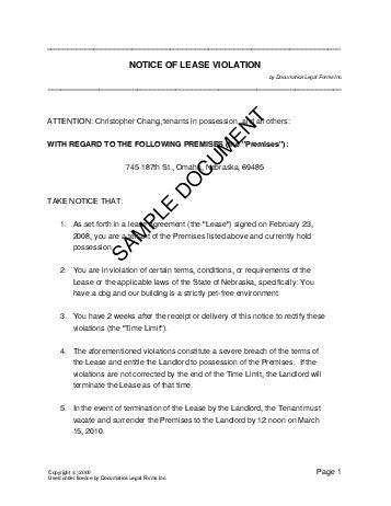 Notice Of Lease Violation (usa)   Legal Templates   Agreements