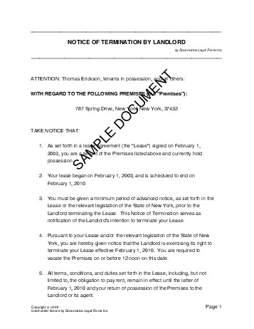 Notice of Termination by Landlord (USA) - Legal Templates ...