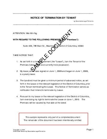 Notice Of Termination By Tenant Usa  Legal Templates  Agreements