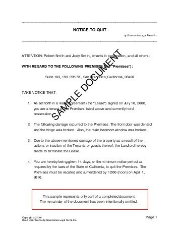 Notice To Quit (Usa) - Legal Templates - Agreements, Contracts And