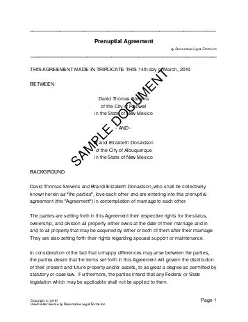 Prenuptial Agreement (Usa) - Legal Templates - Agreements