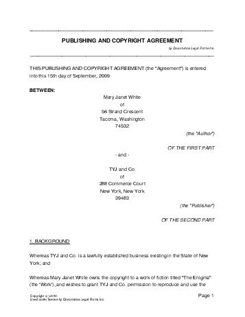 Free Publishing And Copyright Agreement Usa Legal Templates