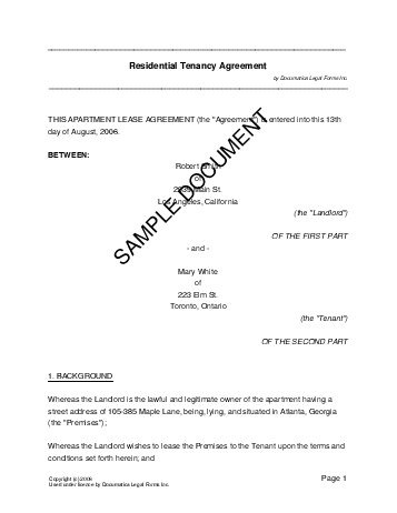 Residential RentalLease USA Legal Templates Agreements - Template for a rental lease agreement
