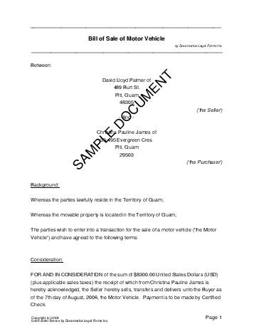 Bill Of Sale Us Territories Legal Templates